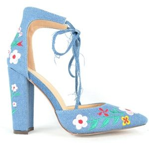 Women's Denim Floral D'orsay Chunky Heel Pump